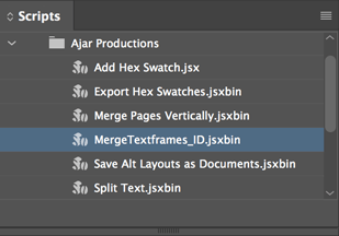 InDesign Scripts Panel
