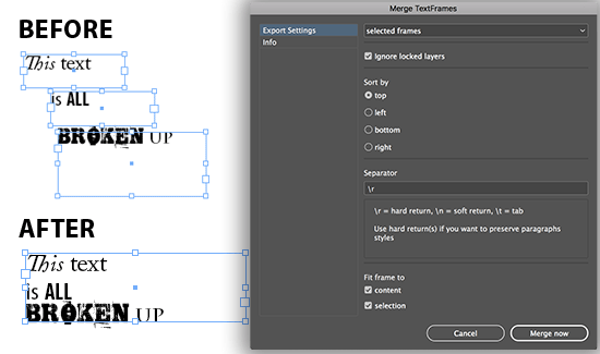 Merge Textframes Extension for Adobe InDesign