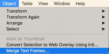 InDesign Object menu option