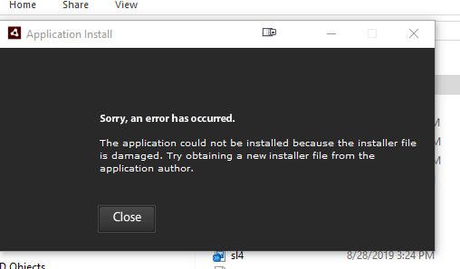 Adobe AIR install error message