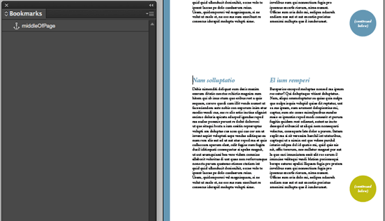 indesign bookmark