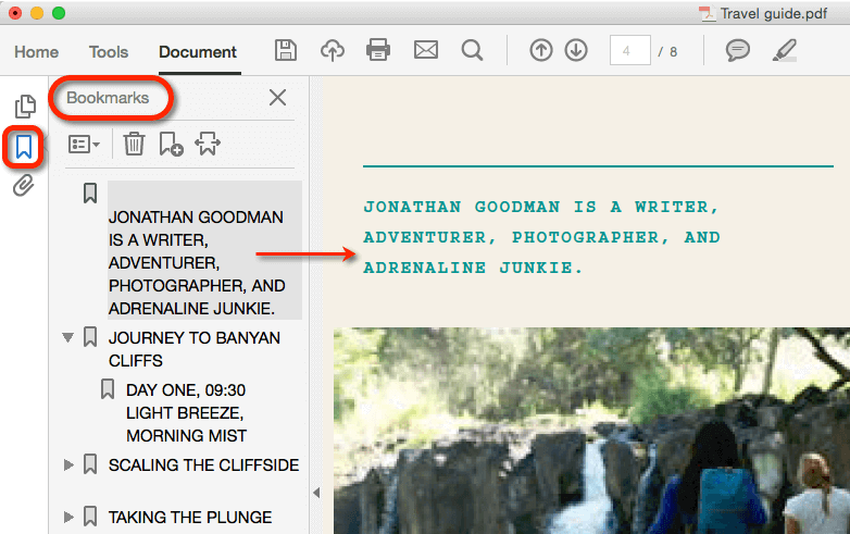 bookmarks in a PDF reader