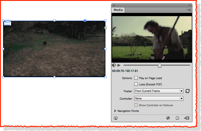 An example of a movie placed on an InDesign page. The movie can be previewed in the Media panel and the options set for how it plays.
