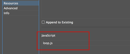 loop file appended in the Resources section of the in5 dialog