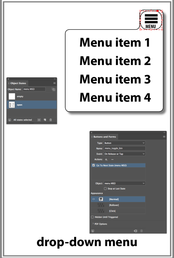 drop down menu in InDesign