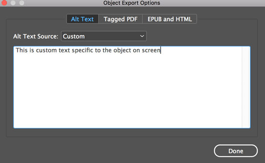 alt text in the object export options dialog within indesign