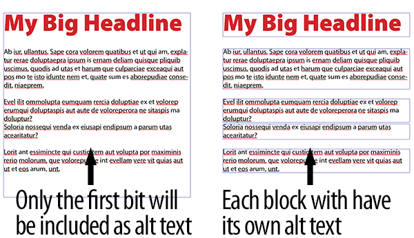 comparison of single text block vs separate text blocks