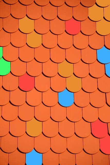 roof with colored tiles