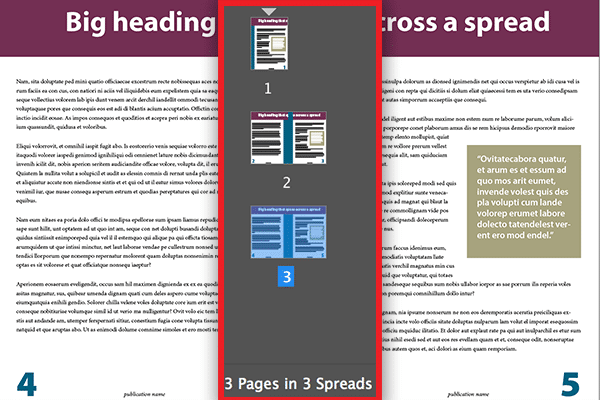 InDesign Pages panel showing spreads have become pages