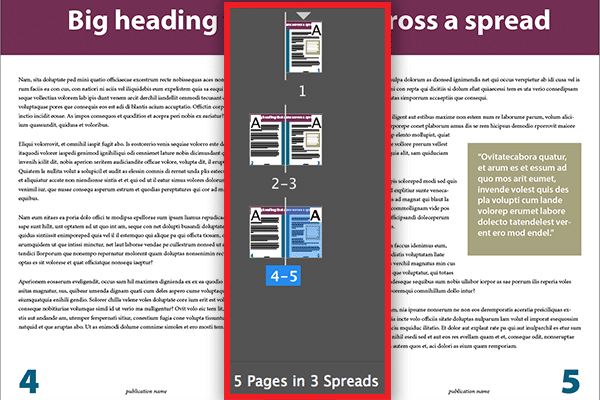 InDesign pages panel with spreads before the script has been run