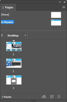 Figure 1 – InDesign Pages panel contains Master pages and pages.