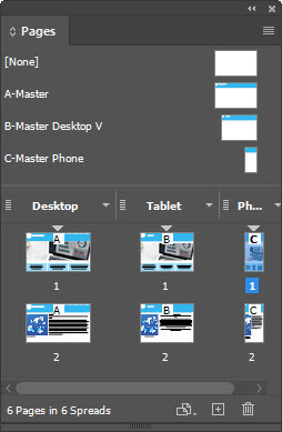 Figure 2 – InDesign Pages panel displays alternate layouts for desktop, tablet, and phone.