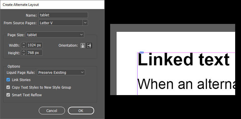 The Create Alternate Layout dialog with Link Stories selected and Highlighted and an example of the Linked text in a text frame.