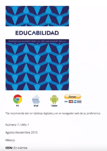 educabilidad landing page for different versions